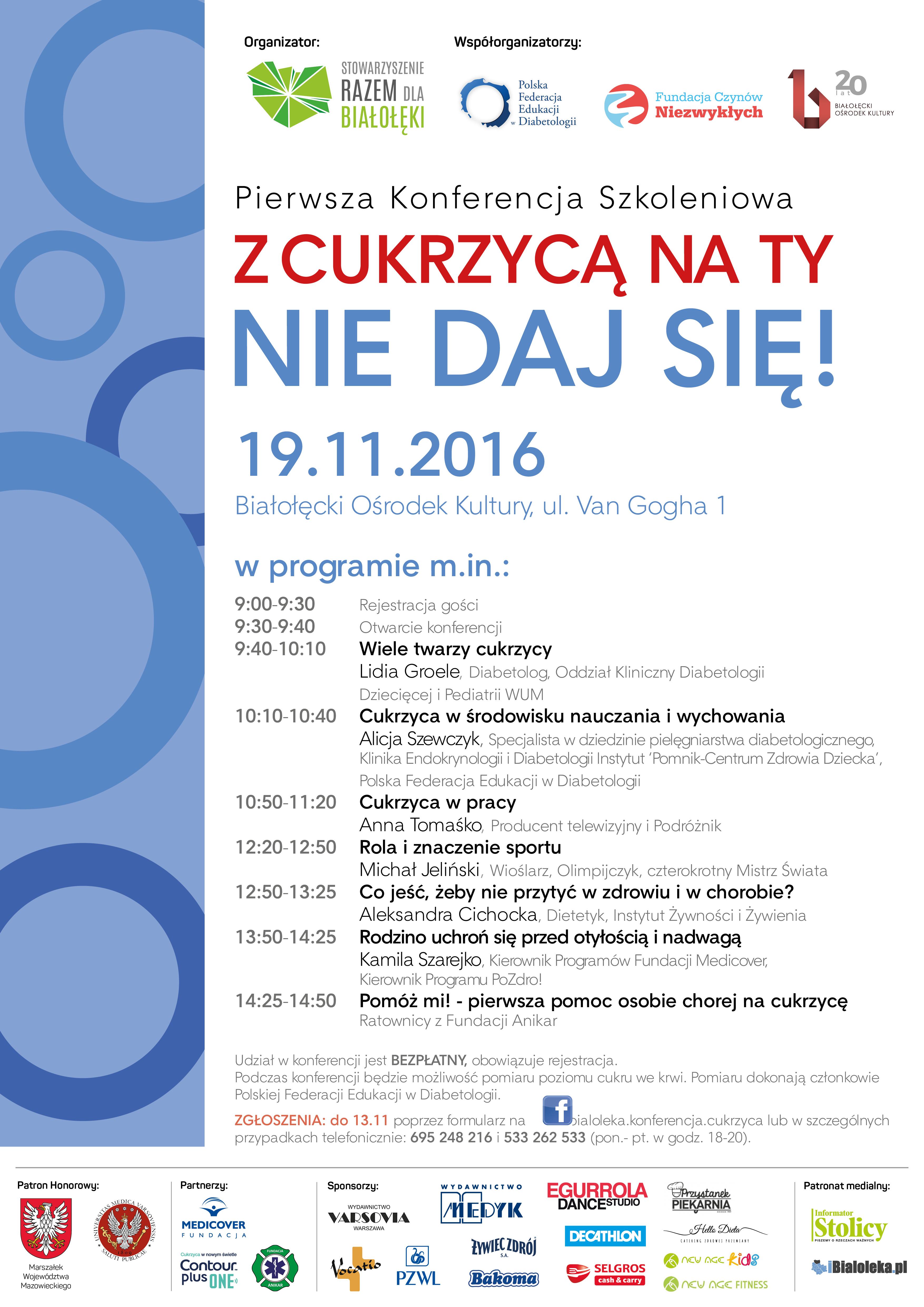 Bezpłatna konferencja szkoleniowa 'Z cukrzycą na Ty, nie daj się!' gminy Białołęka dla wszystkich
